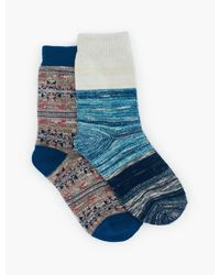 Lucky Brand 2pack Ikat Slub Lurex Sock - Blue