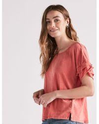 Lucky Brand - Ruffle Sleeve Tee - Lyst