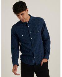 Lucky Brand Santa Fe Western Shirt - Blue