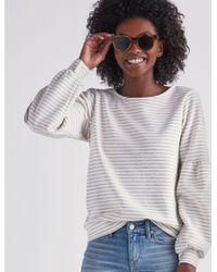 Lucky Brand - Stripe Puff Sleeve Sweatshirt - Lyst