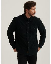 Lucky Brand Knit Thermal Lined Western Shirt - Black