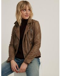 Lucky Brand Distressed Leather Moto Jacket - Brown
