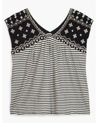 Lucky Brand Novelty Striped Top - Black