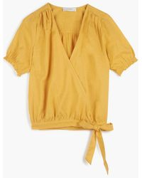 Lucky Brand Textured Wrap Top - Yellow