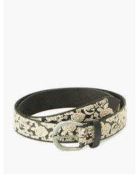 Lucky Brand Floral Embroidered Belt - Black