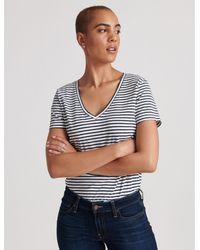 Lucky Brand Striped Essential V-neck Tee - Blue