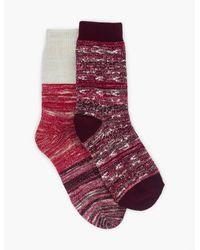 Lucky Brand 2pack Ikat Slub Lurex Sock - Red