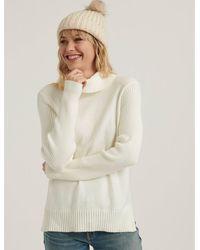 Lucky Brand Side Slit Turtleneck Sweater - White