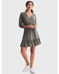 Lucky Brand Sandwash Surplice Dress - Green