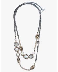 Lucky Brand - Pearl And Pink Stone Wrap Necklace - Lyst