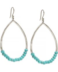 Lucky Brand - Turquoise Beaded Hoop - Lyst