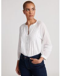 Lucky Brand Embroidered Sleeve Shirting - White