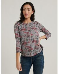 Lucky Brand Overdyed Henley Top - Gray