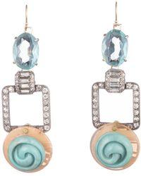 Lulu Frost - Vintage Peachy Blue Art Deco Link Earrings - Lyst