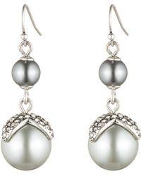Lulu Frost - Lustre Pearl Double Drop Earring - Silver - Lyst