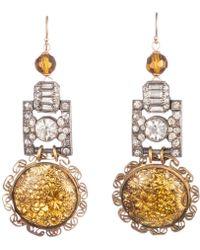 Lulu Frost - Vintage Golden Flower Art Deco Link Earrings - Lyst