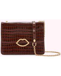 Lulu Guinness - Chocolate Croc Leather Polly Clutch Bag - Lyst