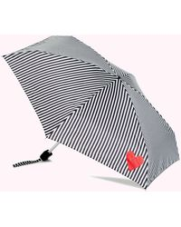 Lulu Guinness Black And White Stripes And Heart Umbrella