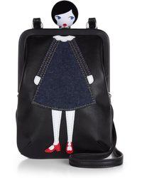 Lulu Guinness Lulu Doll Face Mini Lana - Black