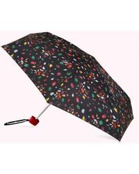 Lulu Guinness Black Multi Jewelled Lips Tiny Umbrella
