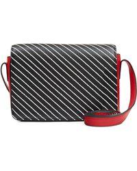 Lulu Guinness - Black Diagonal Stripe Print Small Rene - Lyst