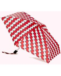 Lulu Guinness Red And Black Kissing Hearts Umbrella