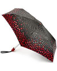 Lulu Guinness Black Scattered Lips Tiny Umbrella