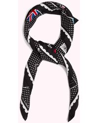 Lulu Guinness Black London Wish You Were Here Square Scarf