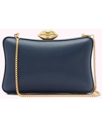 Lulu Guinness Navy Leather Lavinia Clutch - Blue