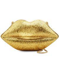 Lulu Guinness Gold Glitter Perspex Large Lips Clutch - Metallic
