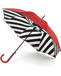 Lulu Guinness Diagonal Stripe Bloomsbury Umbrella - Red