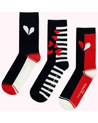 Lulu Guinness Navy Chalk Red Cut Out Heart Ankle Socks