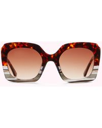 Lulu Guinness Chocolate Tortoise Shell Square Sunglasses - Brown