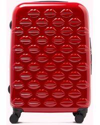 Lulu Guinness Red Medium Hardsided Integrated Lock Spinner Case