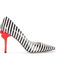 Lulu Guinness Stripe Smooth Leather Brigette Court - Multicolour