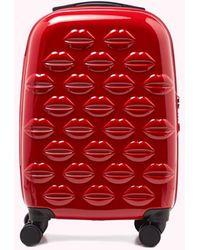 Lulu Guinness Red Small Hardsided Spinner Case