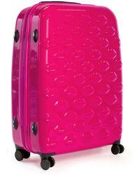 Lulu Guinness Shocking Pink Hard Sided Lips Medium Spinner Case