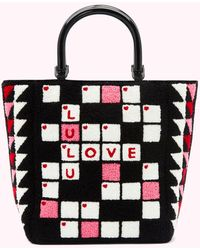 Lulu Guinness Black Crossword Bibi Tote