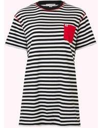 Lulu Guinness Large Stripe Pocket Macie T-shirt - Black