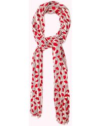 Lulu Guinness Blossom Lips And Hearts Pashmina - Red