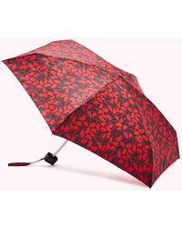 Lulu Guinness Hand Drawn Lip Umbrella - Red