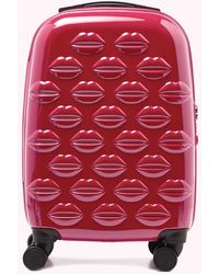 Lulu Guinness Raspberry Small Lips Hardsided Spinner Case - Multicolour