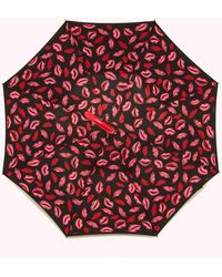 Lulu Guinness Black Red Raspberry Marker Pen Lip Umbrella - Multicolour