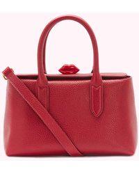 Lulu Guinness China Red Leather Madeline Handbag