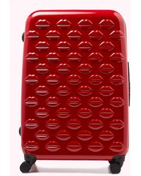 Lulu Guinness Red Large Hardsided Integrated Lock Spinner Case