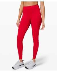 """lululemon athletica Fast And Free High-rise Tight 28"""" Non-reflective Brushed Nulux - Red"""