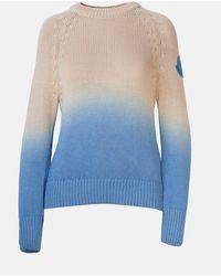 Moncler Maglione Bicolore Azzurro E Beige - Blue