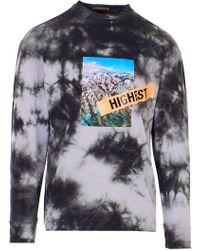 Palm Angels Highest Long Sleeve Tie Dye T-shirt - Gray