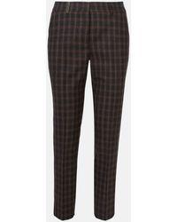 Peserico Pantaloni Marroni Check Elast - Black