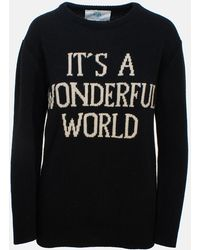 "Alberta Ferretti Black ""it'a Wonderful World"" Slim Sweater"